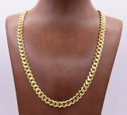 7.5mm Miami Cuban Royal Link Chain Shiny Plain Necklace Real 14k Yellow Gold