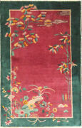 Antique Art Deco Chinese Rug, The Paradise 3' X 4'10 17229