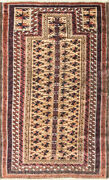 3and039 X 5and0392 Antique Fine Belouch Turkoman Prayer Rug 17046
