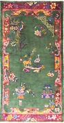 Antique Art Deco Chinese Rug,the Goat And Ostrich  3'1 X 5'10 17228
