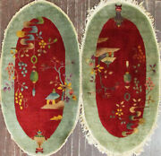 A Pair Of Antique Art Deco Rugs , 2' X 4' C-1920, Oval 17216