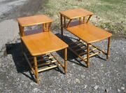 2 Mid Century Modern Heywood Wakefield Bamboo End Tables Bedside Tables