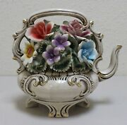 Capodimonte Flower Tea Pot Made In Italy Two Small Chips Exquisite