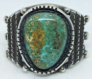 Lovely Old Pawn Navajo Silver Bracelet Ca 1940s-50s With Huge Pilot Mountain Tur