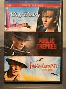 Cry-baby/public Enemies/fear And Loathing In Las Vegas Dvd, 2012, 3-disc Used