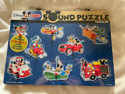 Melissa And Doug Disney Mickey Mouse And Friends Vehicles Sound Puzzle 8 Pcs New