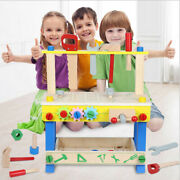 Childrens Kids Wooden Workbench Construction Work Bench Tool Set Play Toy Gift