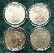 4 Silver Peace Dollars, 1922-1925, Peace Silver 1 Run, 1922, 1923, 1924 And 1925