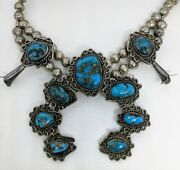 Lovely 1950and039s - 60and039s Mini Squash Blossom Necklace With Beautiful Morenci Turqu
