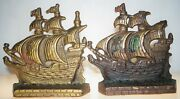 Antique Painted Cast Iron Bookend Door Stop Set Boat Ship Nautical Pirate Ship
