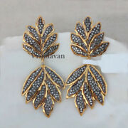 Natural Rosecut Diamond Antique 925 Sold Sterling Silver Earrings Jewelry