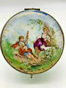 Antique Hand Painted Round Porcelain Dresser Box With Mirror Made In Germany