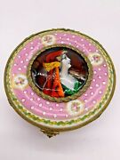 Antique Rare Sevres France Porcelain Gilt Mounted Round Box Hand Painted