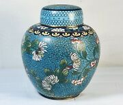 19th Chinese Cloisoinne Chrysanthemums Jar And Cover
