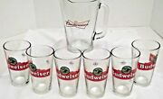 Budweiser Beer Glasses Pitcher Collectable Bar Man Cave 7pc Set