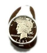 1921 Peace Silver Dollar Money Clip Cut Out Coin Jewelry 100-year-old