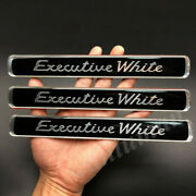 3x Executive White Car Trunk Tailgate Rear Fender Emblem Badge Decal Stickers