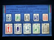 1915 Italy Rare Military Wwi Set Stamps Battalion Lombardy Volunteers Cyclists