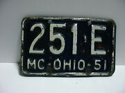 1951 Ohio License Plate And039mcand039 Motorcycle 251 - E Vintage As3261