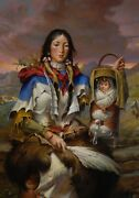 William Ahrendt Of Sacajawea And Pomp On Canvas Unframed 20x28 Limited Edition 5/5