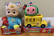 Cocomelon Jj Doll Plush Musical Bedtime 10 Doll, Soft Melon And Yellow School Bus
