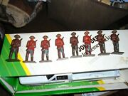 Lot Of 8 Old Cast Iron Military Toy Soldiers In Red And Blue Uniform Mounties