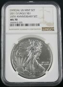 2011 S American Silver Eagle 25th Anniversary Set Ngc Ms 70