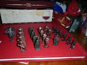 Vintage Mini Figurines Metal Mid Century Soldiers Cowboy/robber Lot
