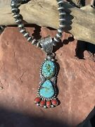Navajo Sterling Kingman Web Turquoise And Red Coral Taos Pendant Danny Clark