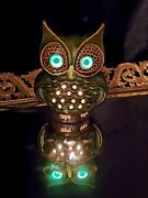 Vintage 70and039s Ceramic Owl Night Light Table Lamp Green 7 Mcm Green Glowing Eyes