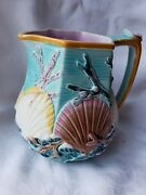 Rare Antique Wedgewood Majolica Pitcher Shell Theme Shell Seaweed Bright Colors