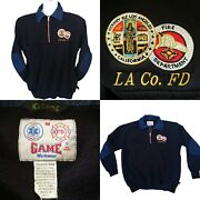Vintage Game Workwear Los Angeles Fire Dept. Denim Elbow Patch Pullover Sweater