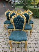 Gold And Green Velvet Baroque Style Chairs-6 Pieces. Made By Order