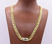 9mm Miami Cuban Link Monaco Chain Necklace Baguette Lock Real 10k Yellow Gold