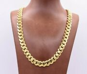 11mm Miami Cuban Royal Link Chain Necklace Shiny Box Clasp Real 14k Yellow Gold