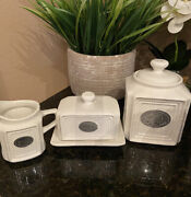 Thl Farmhouse French Shabby Chic Tea Canister Beaded Edge W Lid New