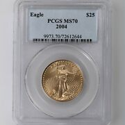 2004 American Gold Eagle G25 Pcgs Certified Ms70 1/2oz A.g.e
