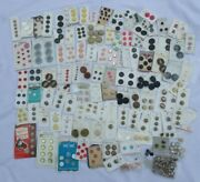 Vintage Sewing Buttons On Cards Large Lot Rhinestones
