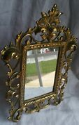 Vintage Antique Brass Mirror Retro Collectable Early Ornate