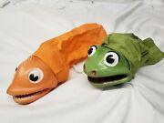 Rare Hazelle Hand Puppet Lot Of Two Frog Fish 1950s Marionette Wow Rubber Face