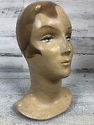 Antique Early 1900s Flapper Woman Plaster Mannequin Head Signed Patina Life Sz