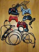 Lot Of 5 Sony Playstation And Random Controllers Game Pads Joysticks + Cables