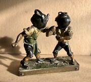 19th Century Boxing Match Bronze Pot Calling The Kettle Black Cold Painted