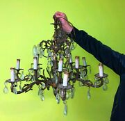 Vintage Chandelier 10 Candle Shape Light Fixtures With Crystals