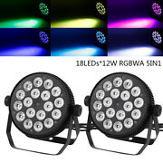 2pcs Stage Par Light Rgbwa 5in1 Dmx512 Dj Color Mixing Sound Control Washer Lamp