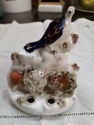 Antique Staffordshire Lion Eagle And Eggs In Nest Quill Pen Holder Inkwell Rare