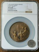 1876-dated France Bronze Statue Of Liberty Roty 68mm - Ngc Ms65 Bn Cornucopia