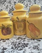 70's-80's Yellow Ceramic Kitchen Canisters