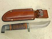Vintage Western Cutlery Knife Beautiful Stacked Leather Handle W/ Leather Sheath