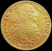 1816 Fj Gold Chile 8 Escudos Salvage Coin Saltwater Effect Details